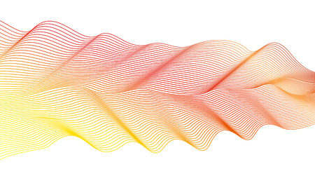 Abstract wavy pattern on white background. Vector vibrant red, yellow waving lines. Futuristic line art design element. Colorful flowing dynamic waves, ribbon imitation Ilustração