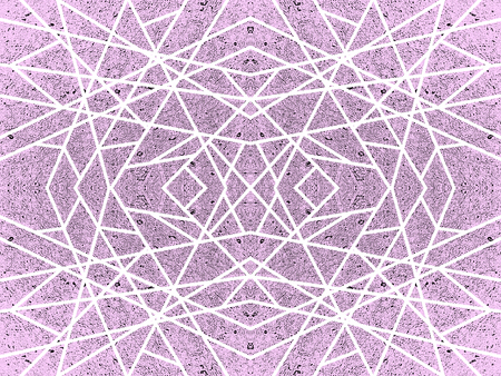 Purple background with kaleidoscope effect. Abstract geometric pattern of white criss-cross lines. Symmetric spiderweb effect. For modern technology design of leaflets, covers, wallpapers, websites, textile, wrapping paper