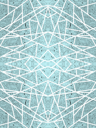 Turquoise background with white criss-cross lines. Open-work ornament, kaleidoscope effect. Abstract geometric lace pattern. Symmetric spiderweb effect. For modern technology design of posters, covers, wallpapers, web pages, textile, scrapbooking, wrapping paper