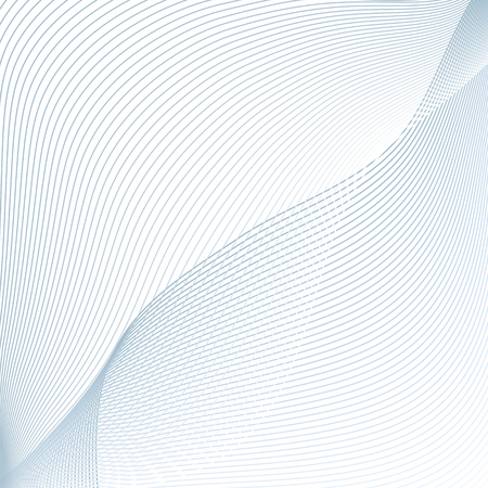 Abstract pattern of blue curved lines on white background. Line art futuristic design. Geometric technology composition with text place. Vector asymmetrical waving lines. Modern grid template for science concept