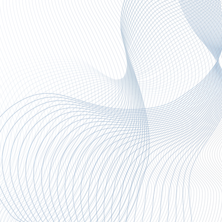 Vector curved crisscross lines on white background. Abstract squiggly waveforms with text place. Contemporary template in light blue and gray tones. Waving line art design for scientific concept. Futuristic wave pattern