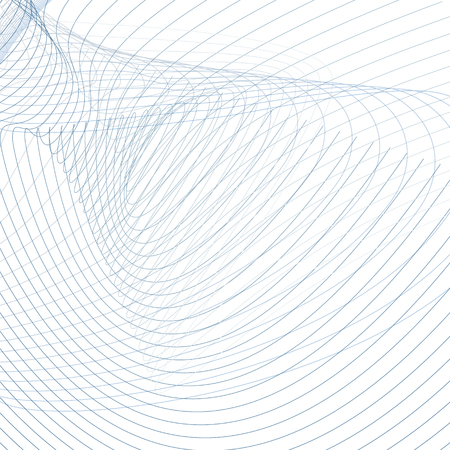 Vector technic background, curved intersecting blue, gray lines on white. Abstract vortex imitation. Line art futuristic design, wiggle waveforms. Energy, power waving pattern. Modern wallpaper