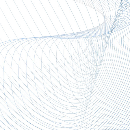 Abstracte vector kronkelende golfvormen. Technicus achtergrond, gebogen kruisende blauwe, grijze lijnen op wit. Lijn kunst futuristisch design. Energie, machtsconcept, golvend patroon. Modern rasterbehang Stockfoto - 103038593