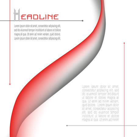Layout with abstract waveform in red and gray. Minimalistic vector background. Modern template for books, brochures, magazines, posters, leaflets, flyers, presentations, infographic, web pages