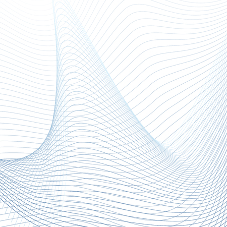 Vector three-dimensional figure, futuristic waveform. Abstract technology background, curved blue, gray lines on white. Line art design. Energy, power concept, waving pattern. Modern grid wallpaper. EPS10 Illustration
