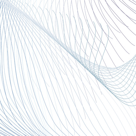 Technology grid background. Abstract colored pattern of waving lines. Line art futuristic design for media concept. Modern scientific wavy template in blue, gray, white hues. Vector EPS10 illustration