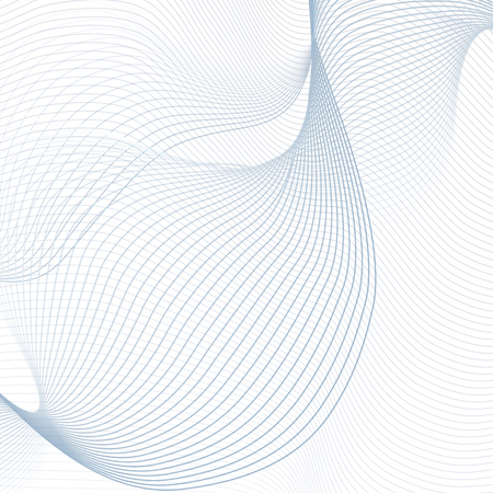 Vector warp crisscross blue lines on white background. Abstract wiggly waveforms. Futuristic template. Waving line art design for science concept. Elegant wave pattern. EPS10 illustration  イラスト・ベクター素材