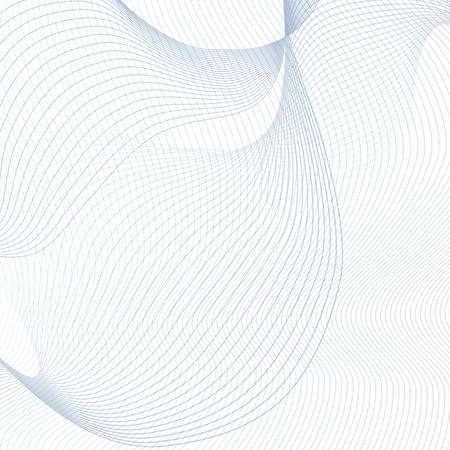 Formes d'onde bleues déformées sur fond blanc. Conception d'art de ligne de technologie abstraite. Concept futuriste. Modèle avec courbure créative. Illustration EPS10