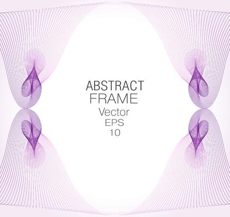 Art frame of curled purple, pink lines. Vintage wave design, soft gradient background. Abstract line art pattern. Vector template for invitations, greeting cards, postcards, pictures, albums, covers. EPS10 illustration