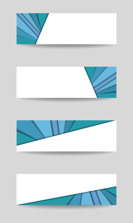 Four banners. Set of headers, footers in blue-green, teal tones. Vector template with white background for text. Modern technology layout for cards, promotion, advertising, marketing, corporate style