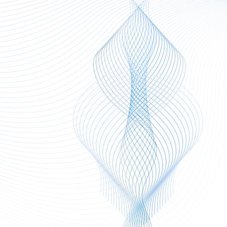 Elemento di design ornamentale. Vettore astratto con linee ondeggianti blu e grigie trasparenti. Modello futuristico di tecnologia, per siti Web, presentazioni, brochure Vettoriali