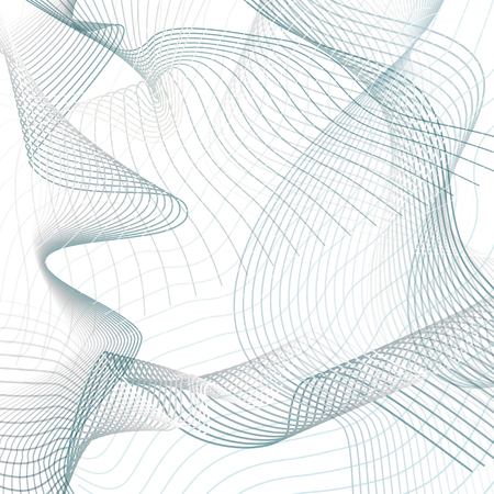Technician abstract vector grid background. Science, physics concept in line art futuristic design. Waving blue, gray lines composition. Modern wave pattern on white. Net imitation. EPS10 illustration