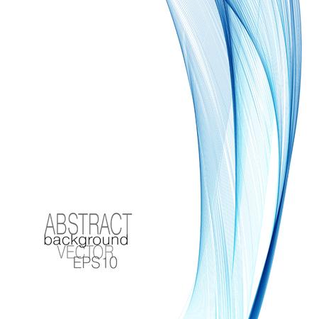 Impressive layout with bright blue flowing veil imitation. Abstract design element. Vector modern line art backround. Elegant waving curved lines. EPS10 illustration