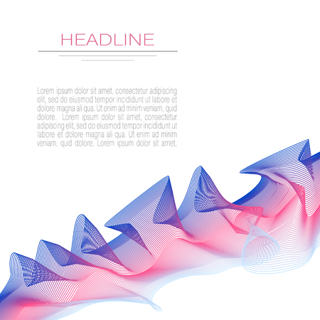 Brochure layout with blue, pink waving design element. Ruched, draped textile imitation. Abstract vector background. Art line pattern, vibrant gradient. Modern template for book, magazine covers, flyer, leaflet. EPS10 illustration