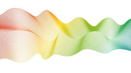 白い背景の抽象的なスペクトル波パターン。ベクトルレインボーウェーブライン。ラインアートデザイン。明るい流れる光る波、リボンの模倣。EPS10 イラスト