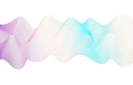 Soft flowing waveform of pastel purple, turquoise, beige tones. Vector squiggle lines, abstract wave pattern. Harmonious waving background. Art line fluid design. Delicate colored ribbon imitation. EPS10