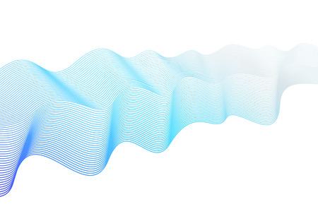 Vector blue dynamical waveform. Pulsating line art design element. Abstract wavy striped pattern on white background. Elegant flowing shiny waves, silk ribbon imitation. EPS10 illustration