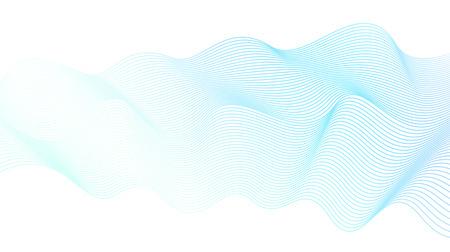 Light blue-green liquid waveform. Vector line art design element. Abstract wavy striped pattern on white background. Elegant flowing shiny waves, silk ribbon, scarf imitation. Transparent lines. EPS10 illustration
