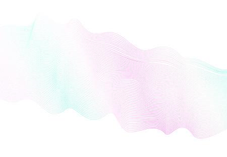 Light pastel wave pattern on white background. Vector waving glowing lines. Pink, aquamarine soft gradient. Modern line art design concept. Gentle flowing shiny waves, ribbon, scarf imitation. EPS10 illustration
