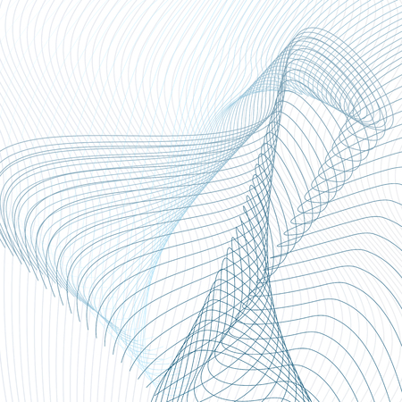 Abstract line art pattern. Vector curved crisscross lines on white background. Technology template in blue and gray tones. Futuristic waving, squiggle lines composition for industrial, scientific concept. EPS10 illustration Standard-Bild - 111491861