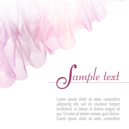 Delicate layout with soft pink waving veil imitation. Abstract background, transparent draped curtain. Vector template for invitation, greeting card, leaflet, flyer, placard, poster. EPS10 illustration 向量圖像