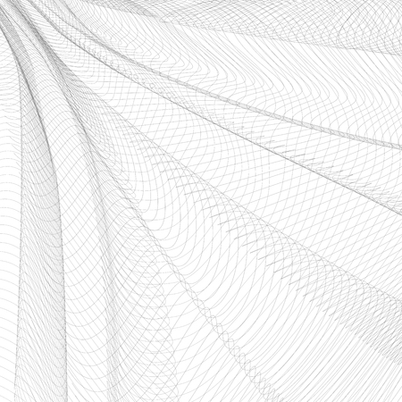 Abstract pleated network. Gray ripple thin lines, curves. Vector monochrome striped background. Line art pattern, textile, net, mesh textured effect. EPS10 illustration Vettoriali