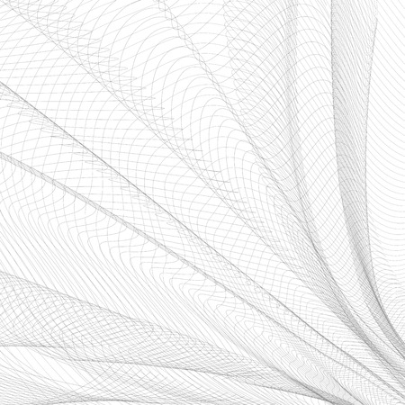 Abstract folded network. Gray waving thin lines, curves. Vector monochrome striped background. Line art pattern, textile, net, mesh textured effect. EPS10 illustration