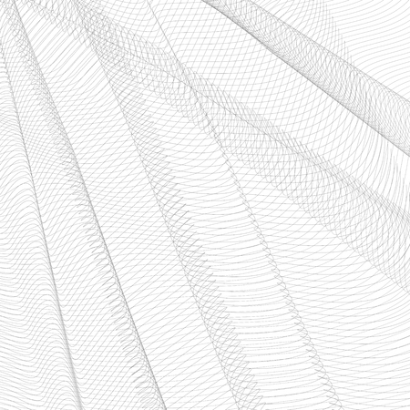 Abstract creased network. Gray undulating subtle lines, curves. Vector monochrome striped background. Line art pattern, textile, net, mesh textured effect. EPS10 illustration Illustration