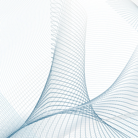 Vector curved lines on white background. Technology 3-dimensional effect. Abstract line art pattern. Futuristic template in blue and gray tones, thin lines composition for industrial, scientific concept. EPS10 illustration