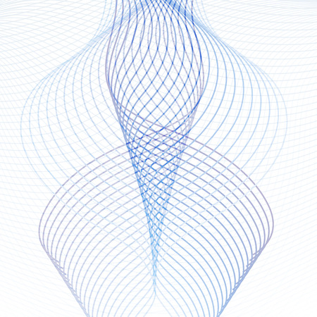 Technology geometric pattern. Line art ornamental design element. Blue and purple squiggle waving lines, curves