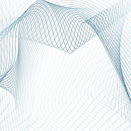 Blue net pattern on white background. Modern abstract design with drapery effect. Vector textile texture. Squiggle subtle lines. Line art sci-tech, technology concept. EPS10 illustration