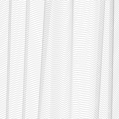 Abstract net imitation with vertical drapery. Gray squiggle thin lines, curves. Vector monochrome striped background. Line art pattern, textile, netting, mesh textured effect. EPS10 illustration 矢量图像