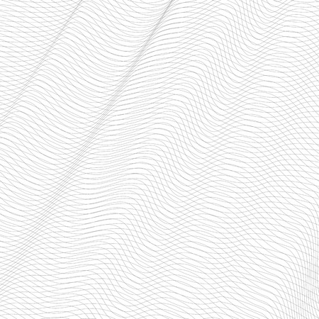 Abstract squiggle net with diagonal drapery. Gray undulating subtle lines, curves. Vector monochrome striped background. Line art pattern, textile, network, mesh texture. EPS10 illustration