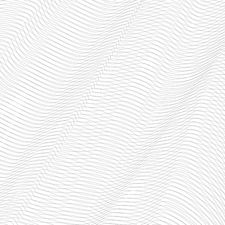 Gray squiggle net with diagonal waves. Abstract undulating subtle lines, curves. Vector monochrome striped background. Line art pattern, textile, network, mesh texture. EPS10 illustration