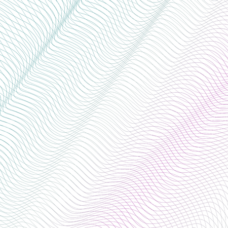 Colored squiggle net with diagonal drapery. Turquoise, pink waving subtle lines, curves. Vector abstract striped background. Line art pattern, textile, network, mesh texture. EPS10 illustration