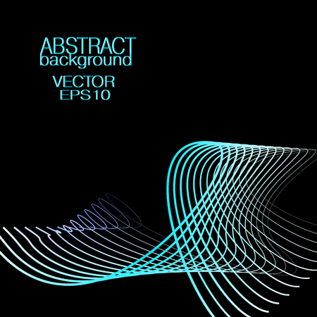 Abstract wave pattern, blue colored loop. Vector glowing subtle neon lines. Black background. Technology concept. Art line futuristic design for banner, cover, poster, leaflet, flyer, business card. EPS10 illustration Ilustração