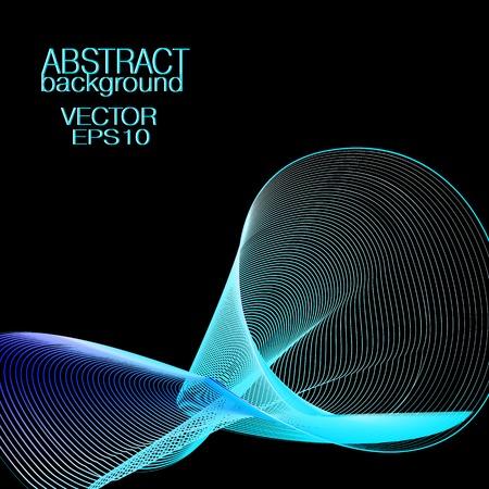 Abstract wave pattern, blue colored transparent veil. Glowing lines. Black background. Vector futuristic concept. Art line technology design for banner, cover, poster, leaflet, flyer, business card. EPS10 illustration