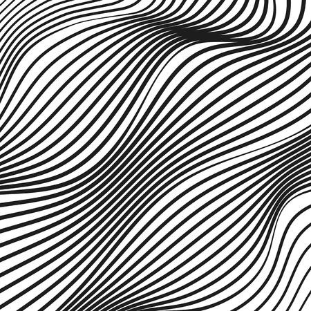Reticolo diagonale astratto di arte op. Superficie deformata a strisce bianche e nere. Linee ondulate, deformate e ondulate. Progettazione tecnologica. Illusione concettuale moderna. Sfondo vettoriale. Illustrazione EPS10