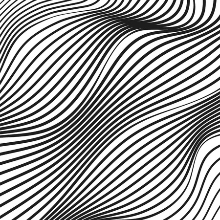 Abstract diagonal op art pattern. Deformed black and white striped surface. Squiggle, warped, waving lines. Tech design. Modern conceptual illusion. Vector background. EPS10 illustration