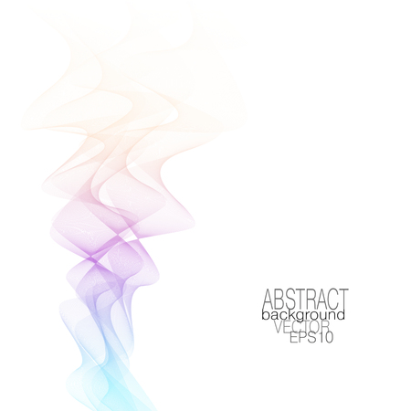 Smoky wave pattern, soft gradient. Abstract flowing waves of pastel beige, purple, blue tones. Vector squiggle lines, modern background. Art line dynamic fluid. Colored ribbon imitation. EPS10 illustration