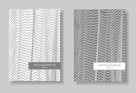 Gray and white covers set. Abstract layout, line art design. Waving squiggle thin curves, net pattern. Two modern vector templates for book, brochure, catalog, portfolio. EPS 10 illustration