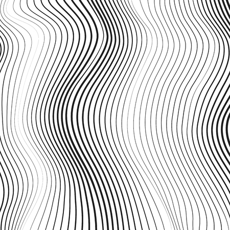 Black and white line art design. Abstract simple op art pattern. Vector vertical waving, squiggle, warped lines. Technology background, deformed surface. Modern conceptual illusion. EPS10 illustration