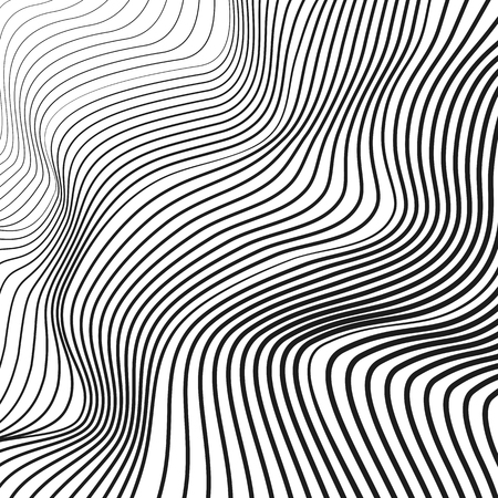 Black and white wave pattern. Vector squiggle, waving dynamic lines. Abstract op art design. Tech background, flowing simple waveforms. Modern conceptual illusion. EPS10 illustration
