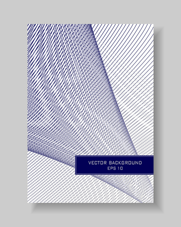 Cover template of line art design. Blue and gray intersecting subtle lines. Layout A4 with text box for brochure, portfolio, leaflet, annual report, poster, flyer