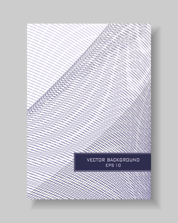 Cover layout of modern line art design. Abstract gradient background, Net, mesh pattern, thin blue, purple lines. Vector template A4 with text box for book, brochure, booklet, portfolio, leaflet, annual report, poster, flyer. EPS10 illustration
