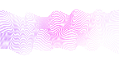 Soft pink waveform, striped horizontal wave pattern. Abstract background, pink, violet, white gradient. Ripple, flowing ribbon imitation, silk skarf. Squiggle art lines, vector waving design element. EPS10 illustration Çizim