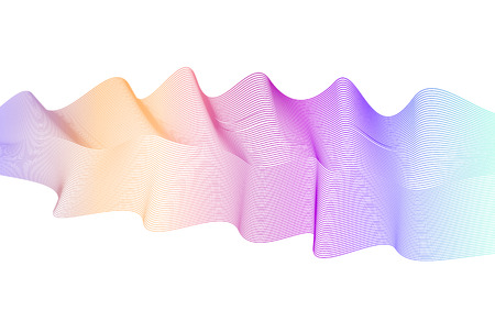 Multicolored wave pattern. Flowing waveform with violet, orange, purple, blue, turquoise gradient. Abstract striped horizontal background. Vector pulsating waves. Undulating art lines, ribbon imitation. EPS10 illustration