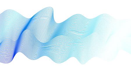 Bright blue dynamical waveform. Pulsating line art design element. Abstract wavy striped pattern on white background. Elegant flowing vector waves, silk ribbon imitation. EPS10 illustration