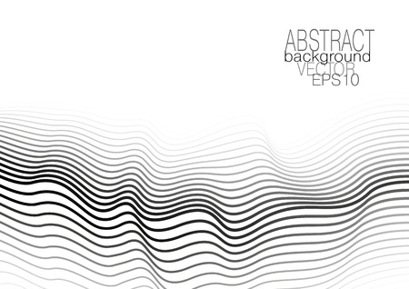 Modern template with op art pattern. Monochrome undulating lines on white background. Vector abstract layout for brochure, leaflet, flyer, book, poster, presentation. EPS10 illustration