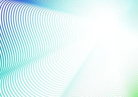 Golfontwerp, achtergrond met flitseffect. Turkoois, blauw, groen, wit verloop. Futuristische kunst lijnpatroon. Concept van perspectief. Vector gekleurde abstracte compositie. EPS10 afbeelding